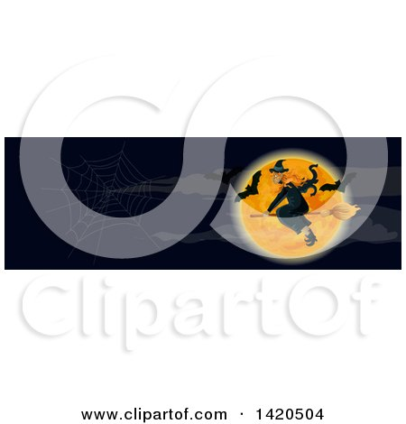 Clipart of a Header Website Banner of a Witch and Bats over a Full Moon - Royalty Free Vector Illustration by Vector Tradition SM