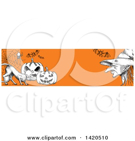 Clipart of a Header Website Banner of a Sketched Cat with Halloween Pumpkins, Bats, a Spider and Witch on Orange - Royalty Free Vector Illustration by Vector Tradition SM