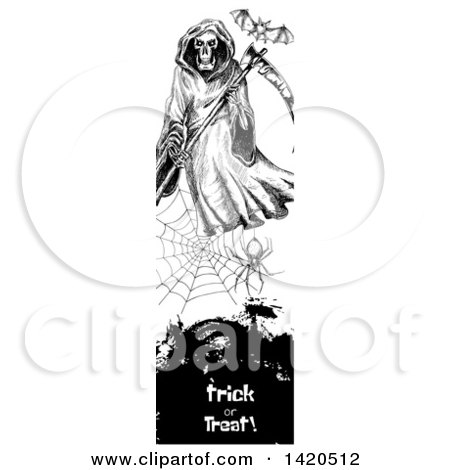 Clipart of a Vertical Website Banner of a Sketched Bat, Grim Reaper and Spider Web over Text - Royalty Free Vector Illustration by Vector Tradition SM