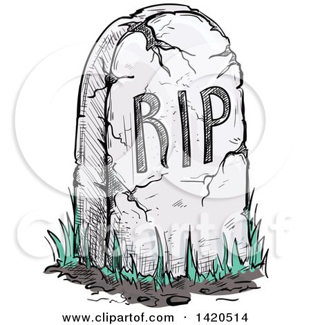 Clipart of a Sketched RIP Tombstone - Royalty Free Vector Illustration by Vector Tradition SM