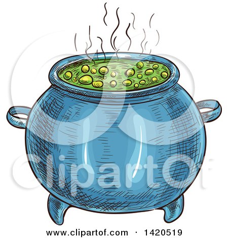 Clipart of a Sketched and Color Filled Boiling Witch Cauldron - Royalty Free Vector Illustration by Vector Tradition SM