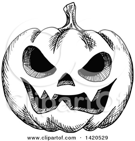 Clipart of a Sketched Black and White Halloween Jackolantern Pumpkin - Royalty Free Vector Illustration by Vector Tradition SM