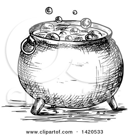 Clipart of a Sketched Black and White Boiling Cauldron - Royalty Free Vector Illustration by Vector Tradition SM