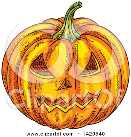 Clipart of a Sketched Halloween Jackolantern Pumpkin - Royalty Free Vector Illustration by Vector Tradition SM