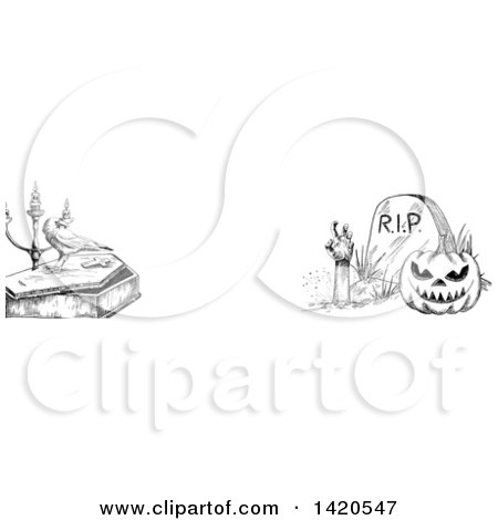 Clipart of a Header Website Banner of a Sketched Halloween Pumpkin, Rising Zombie, Crow and Coffin - Royalty Free Vector Illustration by Vector Tradition SM