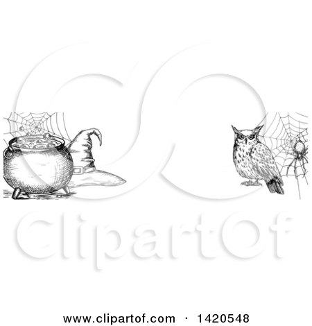 Clipart of a Header Website Banner of a Sketched Owl, Spider, Witch Hat and Cauldron - Royalty Free Vector Illustration by Vector Tradition SM