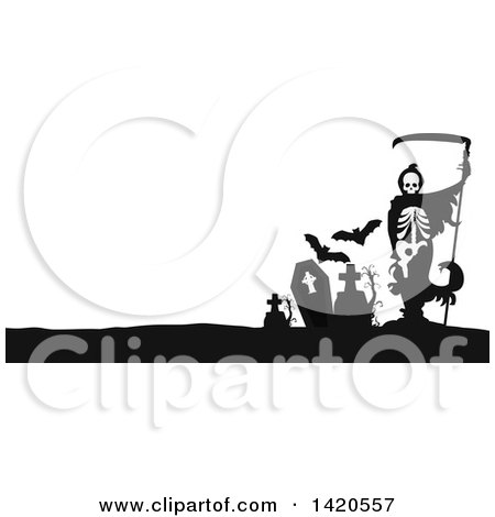 Clipart of a Black and White Silhouetted Grim Reaper and Bats in a Cemetery - Royalty Free Vector Illustration by Vector Tradition SM
