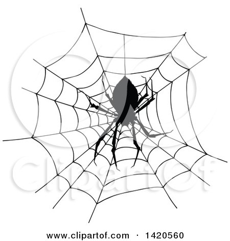Clipart Of A Sketched Black And White Silhouetted Spider In A Web