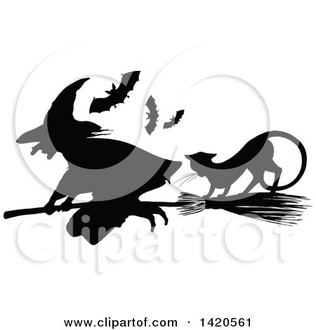 Clipart of a Black and White Silhouetted Cat, Bats and Flying Witch - Royalty Free Vector Illustration by Vector Tradition SM