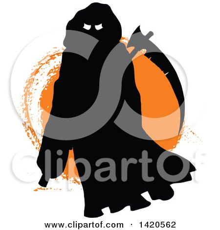 Clipart of a Silhouetted Grim Reaper over Orange - Royalty Free Vector Illustration by Vector Tradition SM