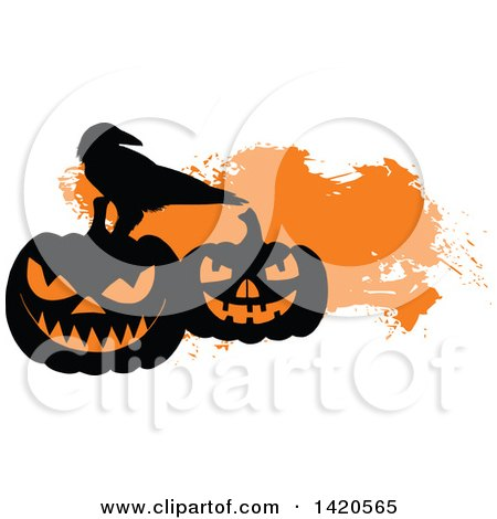 Clipart of a Silhouetted Crow on Halloween Pumpkins over Orange - Royalty Free Vector Illustration by Vector Tradition SM