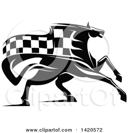 Clipart of a Black and White Horse with a Checkered Racing Flag Mane - Royalty Free Vector Illustration by Vector Tradition SM