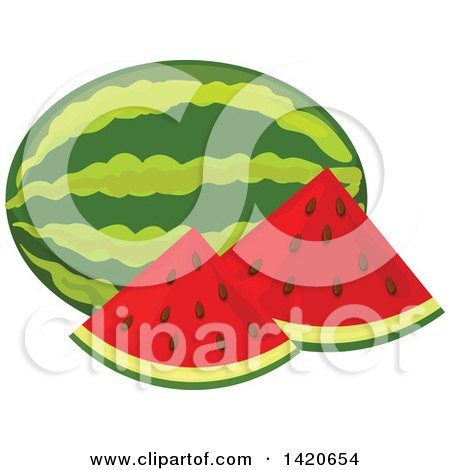 Clipart of Watermelon Slices and Whole Melon - Royalty Free Vector Illustration by Vector Tradition SM