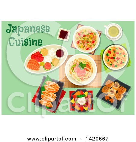 Clipart of a Table Set with Japanese Cuisine - Royalty Free Vector Illustration by Vector Tradition SM