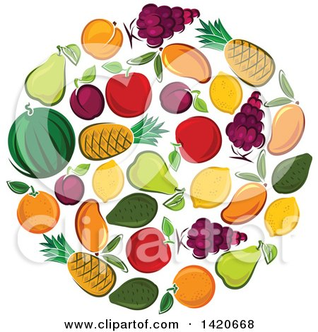 Clipart of a Circle of Fruit - Royalty Free Vector Illustration by Vector Tradition SM