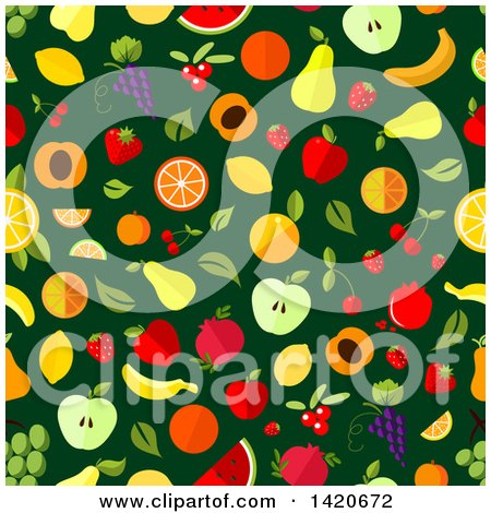 Clipart of a Seamless Pattern Background of Fruit - Royalty Free Vector Illustration by Vector Tradition SM