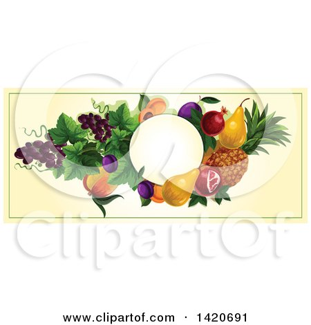 Clipart of a Blank Oval Banner Framed with Pomegranate, Pears, Pineapple, Plums, Grapes, Peaches and Apricots on Beige - Royalty Free Vector Illustration by Vector Tradition SM