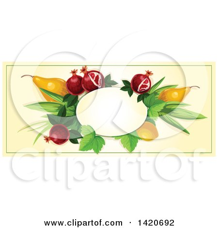 Clipart of a Blank Oval Banner Framed with Pomegranate, Lemon and Pears on Beige - Royalty Free Vector Illustration by Vector Tradition SM