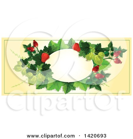 Clipart of a Blank Oval Banner Framed with Strawberries, Briar Fruits and Gooseberries on Beige - Royalty Free Vector Illustration by Vector Tradition SM