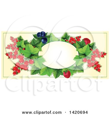 Clipart of a Blank Oval Banner Framed with Raspberry, Blueberry, Red Currants on Beige - Royalty Free Vector Illustration by Vector Tradition SM