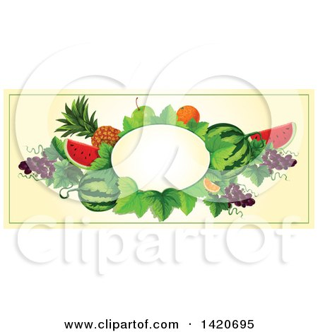Clipart of a Blank Oval Banner Framed with BLANK on Beige - Royalty Free Vector Illustration by Vector Tradition SM