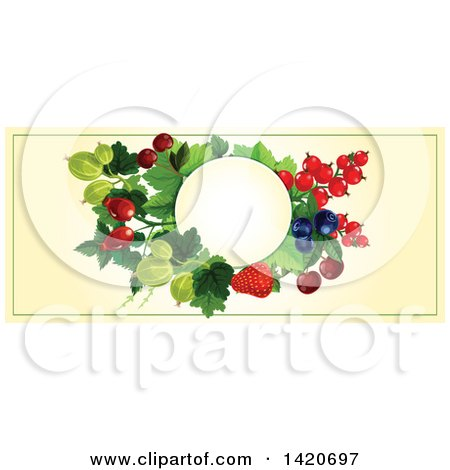 Clipart of a Blank Oval Banner Framed with Strawberries, Cherries, Blueberries, Gooseberries and Briar Fruits on Beige - Royalty Free Vector Illustration by Vector Tradition SM