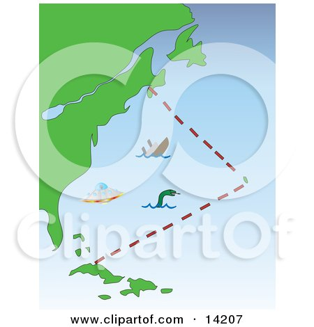 Sea Monster Sinking Ship And UFO In The Bermuda Triangle Clipart Illustration