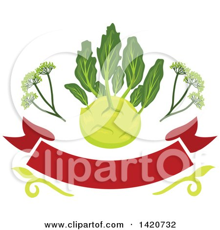 Clipart of a Kohlrabi over a Banner - Royalty Free Vector Illustration by Vector Tradition SM