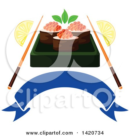 Clipart of Sushi Rolls with Red Caviar, Chopsticks, and Lemon Wedges over a Blank Banner - Royalty Free Vector Illustration by Vector Tradition SM