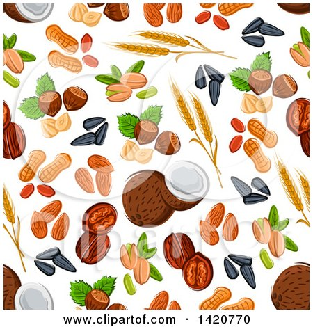 Clipart of a Seamless Pattern Background of Seeds and Nuts - Royalty Free Vector Illustration by Vector Tradition SM