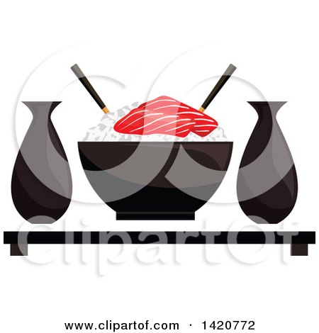 Clipart of a Bowl of Sticky Rice with Salmon Sashimi, Sake and Chopsticks - Royalty Free Vector Illustration by Vector Tradition SM