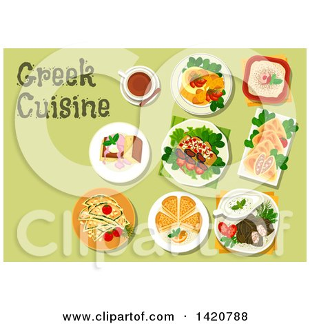 Clipart of a Table Set with Greek Cuisine - Royalty Free Vector Illustration by Vector Tradition SM