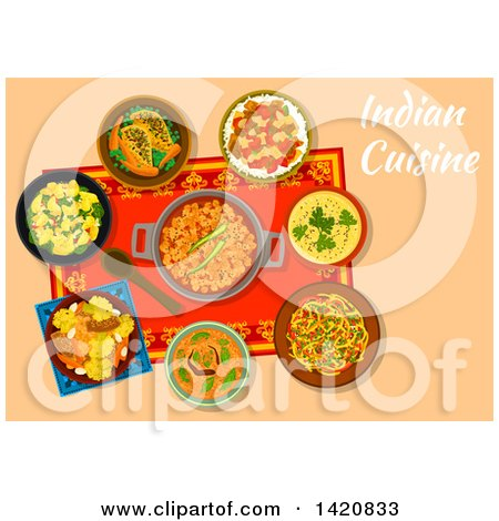 Clipart of a Table Set with Indian Cuisine - Royalty Free Vector Illustration by Vector Tradition SM