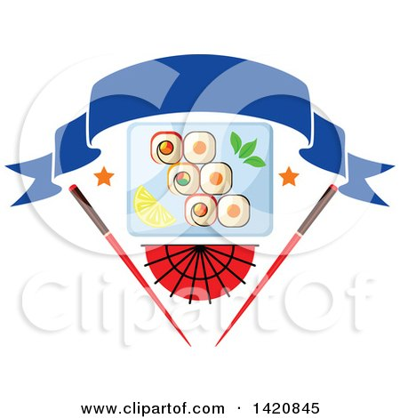 Clipart of a Plate of Sushi Rolls, Wasabi, and Lemon Slices over a Fan and Chopsticks with a Blank Banner - Royalty Free Vector Illustration by Vector Tradition SM