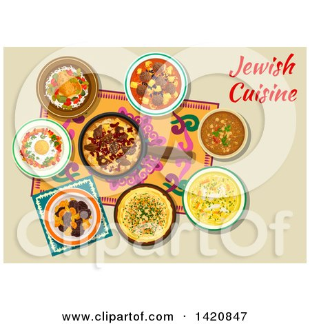 Clipart of a Table Set with Jewish Cuisine - Royalty Free Vector Illustration by Vector Tradition SM