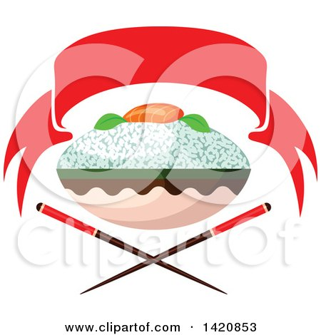 Clipart of a Bowl of Rice with Salmon Fish Sashimi over Crossed Chopsticks Under a Red Banner - Royalty Free Vector Illustration by Vector Tradition SM