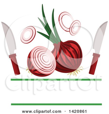 Clipart of Knives and Red Onions with Text Space - Royalty Free Vector Illustration by Vector Tradition SM