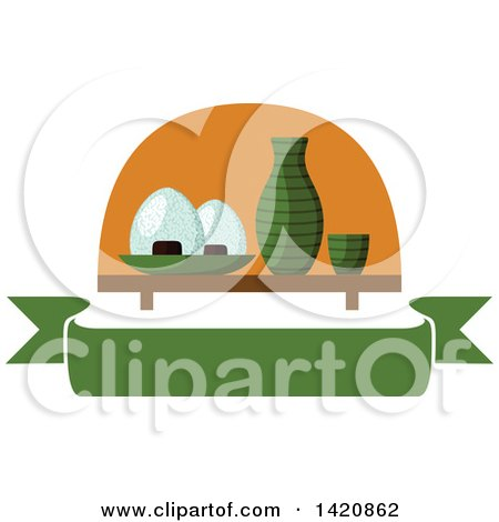 Clipart of Bowls of Sticky Rice Served with Sake on a Wooden Table over a Green Banner - Royalty Free Vector Illustration by Vector Tradition SM