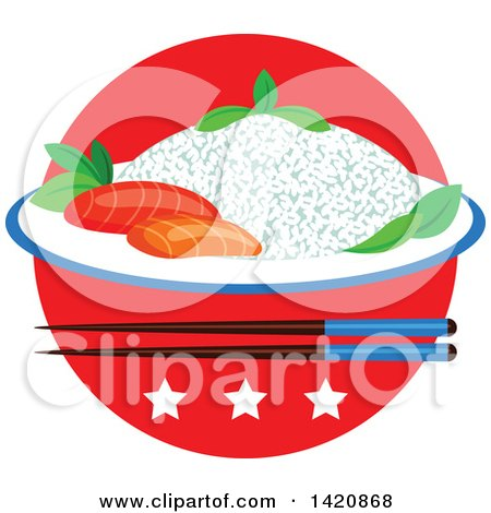 Clipart of a Japanese Flag, Steamed Rice, Seafood Sashimi, Chopsticks and Stars - Royalty Free Vector Illustration by Vector Tradition SM