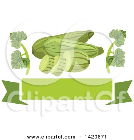 Clipart of a Green Banner with Leaves and Zucchini - Royalty Free Vector Illustration by Vector Tradition SM