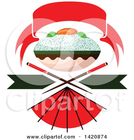 Clipart of a Bowl of Rice with Salmon Fish Sashimi over Crossed Chopsticks Under a Red Banner with a Fan - Royalty Free Vector Illustration by Vector Tradition SM