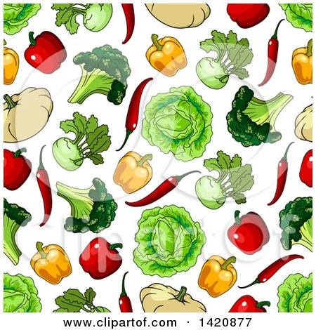 Clipart of a Seamless Pattern Background of Vegetables - Royalty Free Vector Illustration by Vector Tradition SM