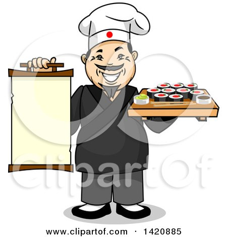 Clipart of a Cartoon Happy Male Japanese Chef Holding a Menu and Tray of Sushi Rolls - Royalty Free Vector Illustration by Vector Tradition SM