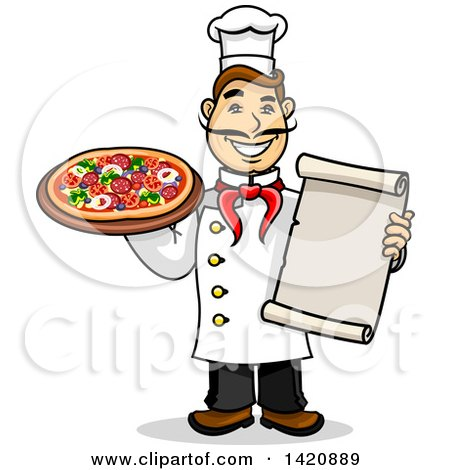 Clipart of a Cartoon Happy Male Chef Holding a Menu and Pizza - Royalty Free Vector Illustration by Vector Tradition SM