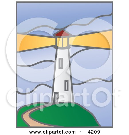 Path Leading To A White Lighthouse With A Bright Beacon Clipart Illustration by Rasmussen Images