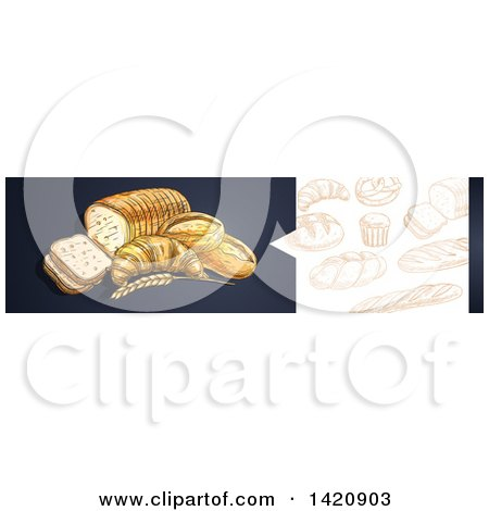 Clipart of a Website Header Banner of Sketched Breads and Baked Goods - Royalty Free Vector Illustration by Vector Tradition SM