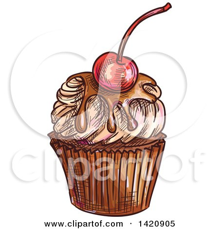 Clipart of a Sketched and Color Filled Cupcake Garnished with a Cherry - Royalty Free Vector Illustration by Vector Tradition SM