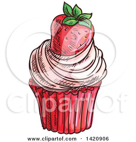 Clipart of a Sketched and Color Filled Cupcake Garnished with a Strawberry - Royalty Free Vector Illustration by Vector Tradition SM