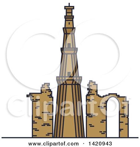 Clipart of a India Landmark, Minaret Qutub Minar - Royalty Free Vector Illustration by Vector Tradition SM
