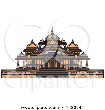 Clipart of a India Landmark, Swaminarayan Akshardham Temple Complex - Royalty Free Vector Illustration by Vector Tradition SM